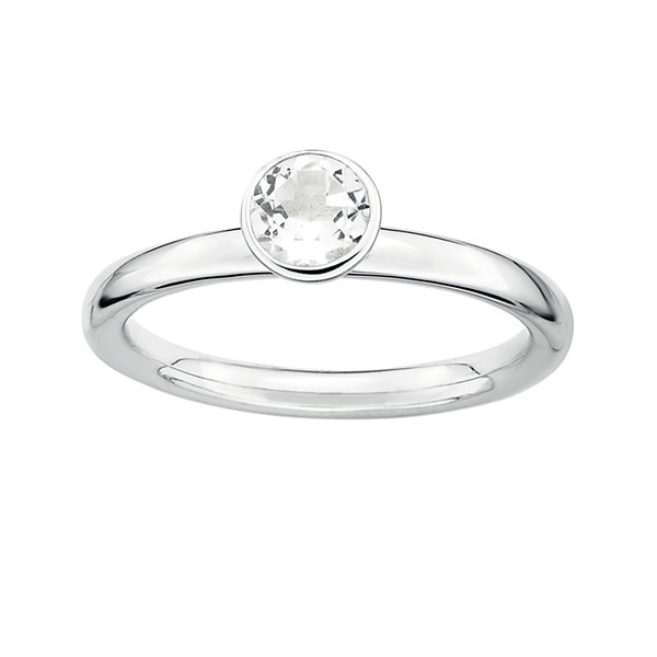 Personally Stackable Genuine White Topaz Sterling Silver Stackable Ring