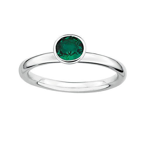 Personally Stackable Lab-Created Emerald Sterling Silver Stackable Ring