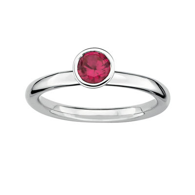 Personally Stackable Lab-Created Ruby Sterling Silver Stackable Ring