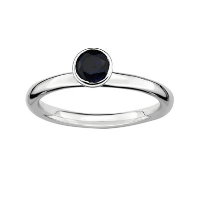 Personally Stackable Lab-Created Sapphire Sterling Silver Stackable Ring