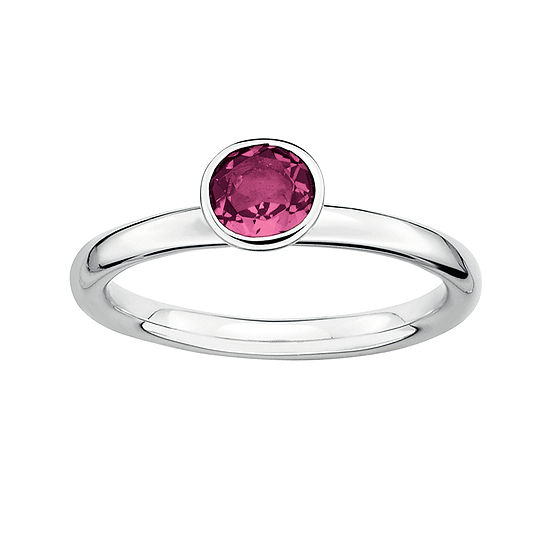 Personally Stackable Genuine Pink Tourmaline Sterling Silver Stackable Ring