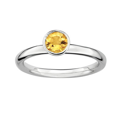 Personally Stackable Genuine Citrine Sterling Silver Stackable Ring