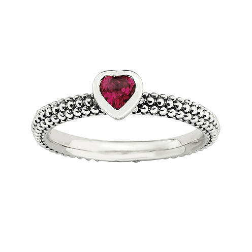 Personally Stackable Lab-Created Ruby Heart Sterling Silver Beaded Ring