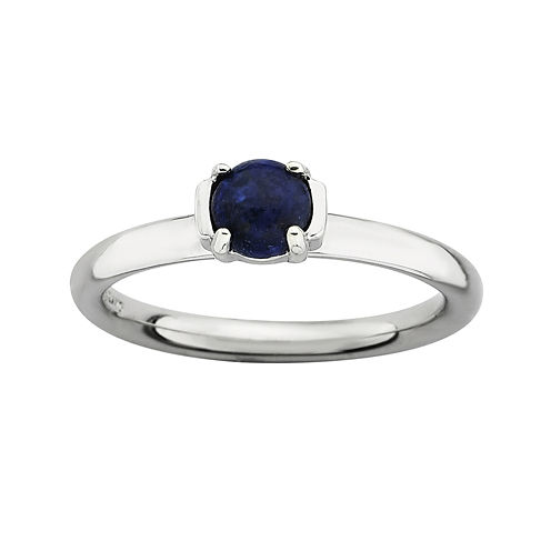 Personally Stackable Genuine Blue Lapis Sterling Silver Stackable Ring