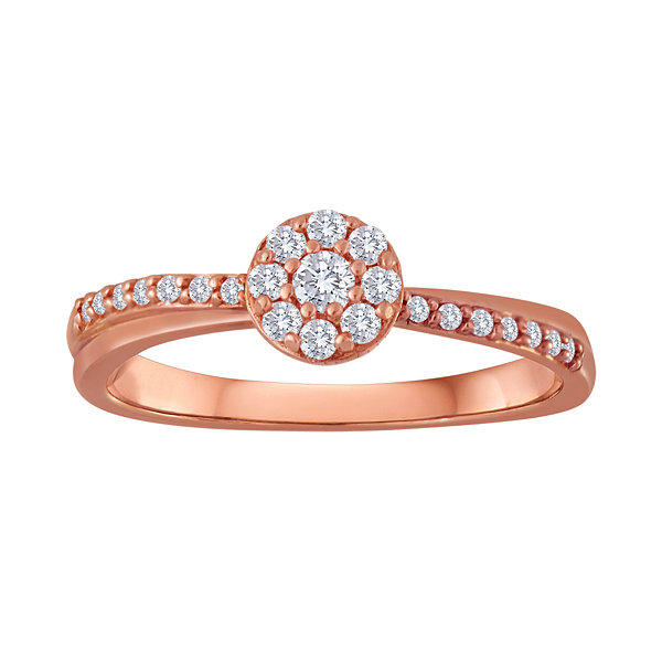 1/5 CT. T.W. Diamond 10K Rose Gold Bridal Ring