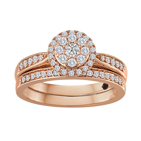 1/2 CT. T.W Diamond 10K Rose Gold Bridal Ring Set