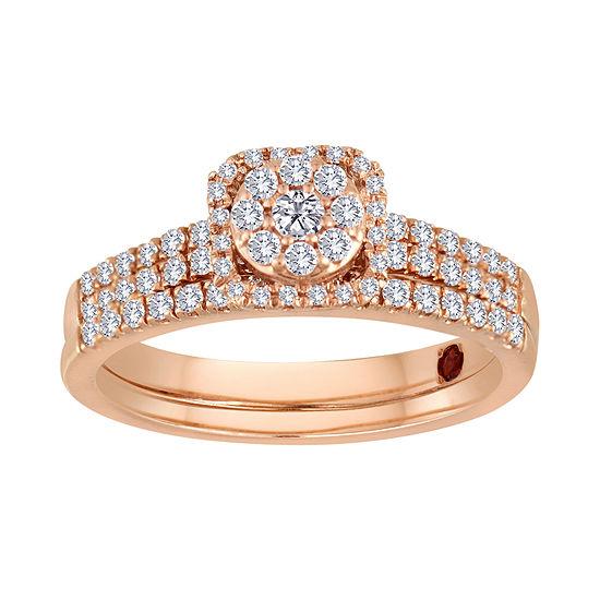 1 2 Ct Tw Diamond 10k Rose Gold Bridal Ring Set