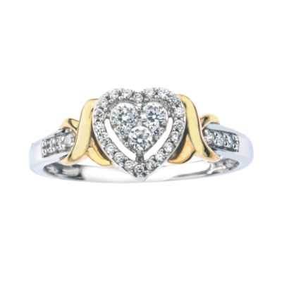 1/4 CT. T.W. Diamond 10K Two-Tone Gold X- Accent Heart Promise Ring