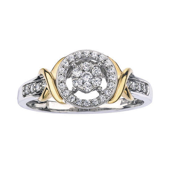 1/4 CT. T.W. Diamond 10K Two-Tone Gold X- Accent Circle Promise Ring