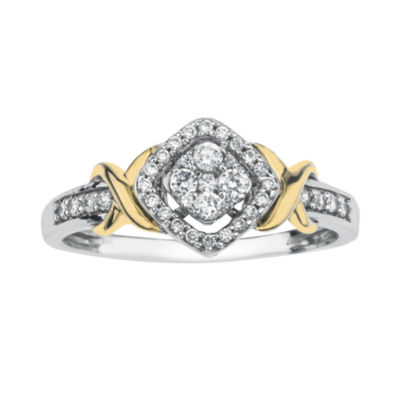 1/4 CT. T.W. Diamond 10K Two-Tone Gold X- Accent Square Promise Ring