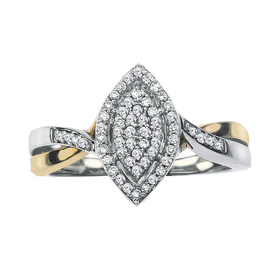 1/5 CT. T.W. Diamond 10K Two-Tone Gold Marquise Promise Ring