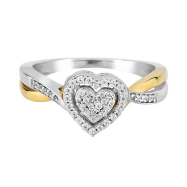 1/5 CT. T.W. Diamond 10K Two-Tone Gold Heart Promise Ring