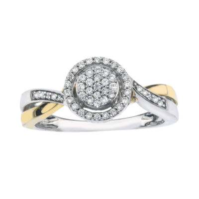 1/5 CT. T.W. Diamond 10K Two-Tone Gold Circle Promise Ring