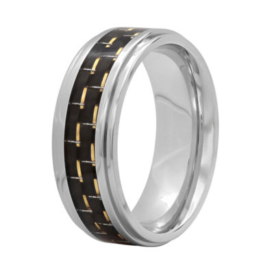 Mens Black Stainless Steel 8mm Comfort-Fit Wedding Band