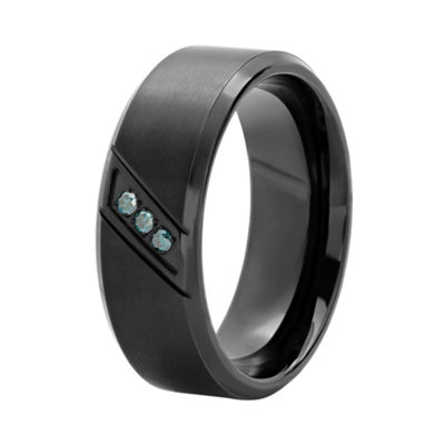 Mens Blue Diamond-Accent Black Stainless Steel Wedding Band