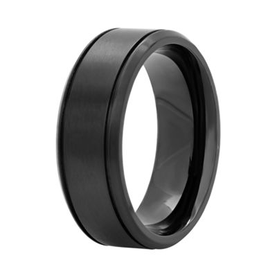 Mens Black Stainless Steel 8mm Wedding Band