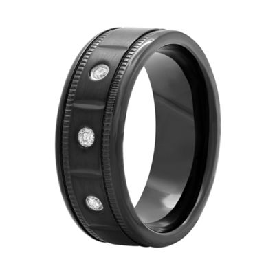 Mens 1/10 CT. T.W. Diamond Black Stainless Steel Wedding Band