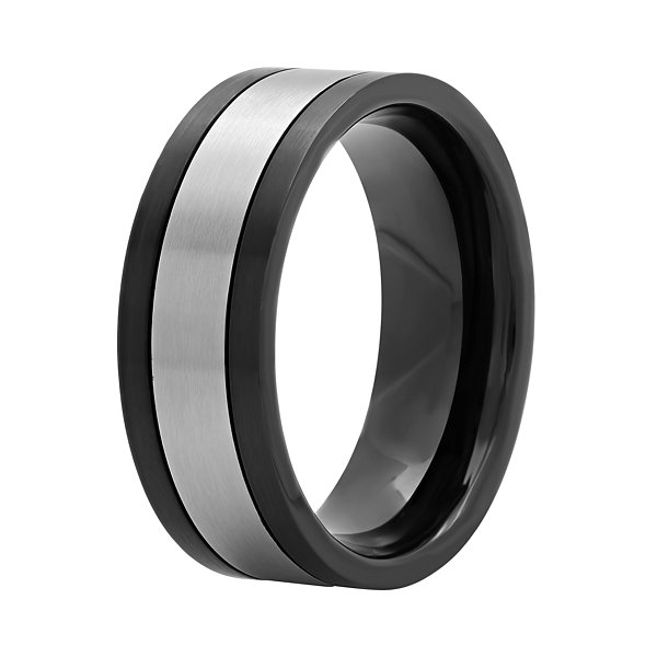 Mens Stainless Steel and Black Ion-Plated 8mm Wedding Band