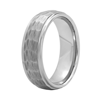 Mens Tungsten Carbide Hammered Wedding Band