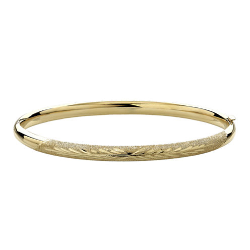 Infinite Gold™ 14K Yellow Gold Leaf-Etched Hollow Bangle