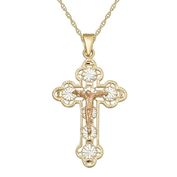 Infinite gold 14k thin cross filinfinite goldree crucifix pendant infinite gold 14k tri tone gold crucifix cross pendant necklace audiocablefo