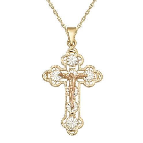 Infinite Gold™ 14K Tri-Tone Gold Crucifix Cross Pendant Necklace