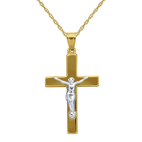 Infinite Gold™ 14K Two-Tone Gold Crucifix Pendant Necklace