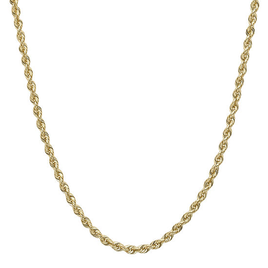 "Infinite Gold™ 14K Yellow Gold 16"" or 36"" Hollow Glitter Rope Chain"