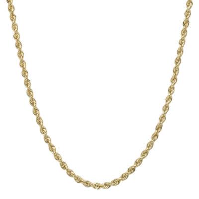 "Infinite Gold™ 14K Yellow Gold 20"" Hollow Glitter Rope Chain"