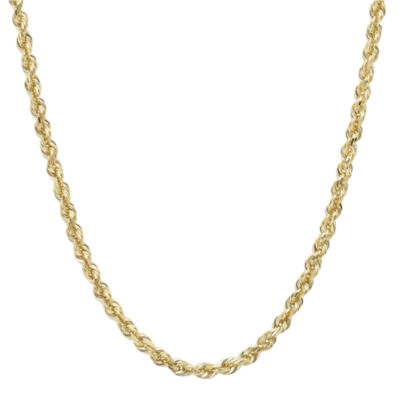 "Infinite Gold™ 14K Yellow Gold 24"" Glitter Solid Rope Chain"