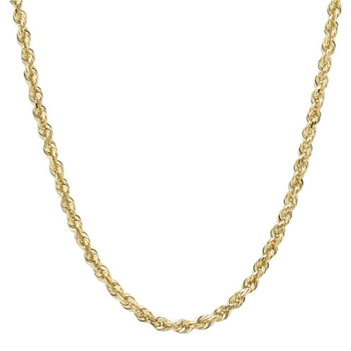 "Infinite Gold™ 14K Yellow Gold 30"" Glitter Solid Rope Chain"