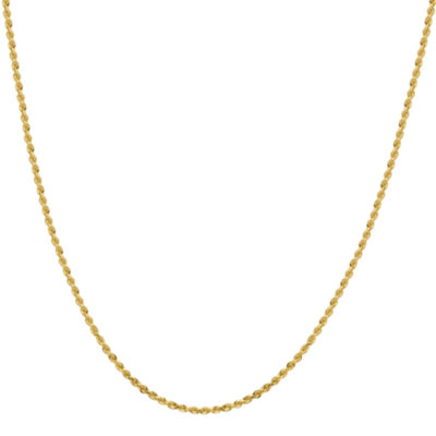 "Infinite Gold™ 14K Yellow Gold 24"" Glitter Hollow Rope Chain"