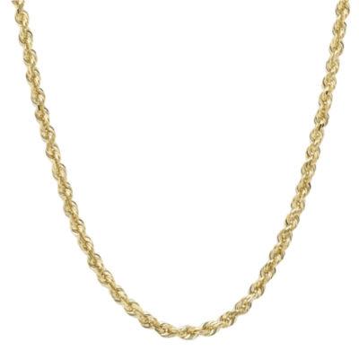 "Infinite Gold™ 14K Yellow Gold 22"" Glitter Hollow Rope Chain"