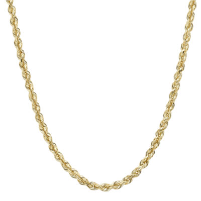 "Infinite Gold™ 14K Yellow Gold 30"" Glitter Hollow Rope Chain"
