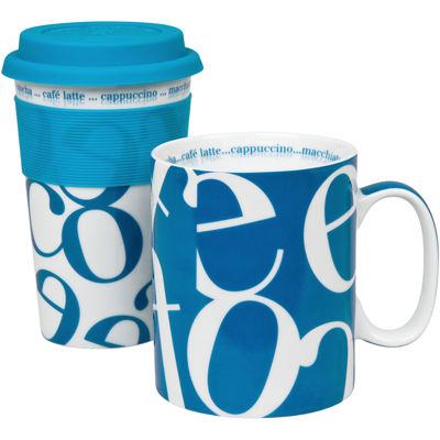 Konitz Script Collage 2-pc. Stay/Go Mug Set