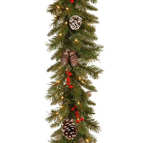 """National Tree Company® 10""""x9' Frosted Berry Pre-Lit Garland"""