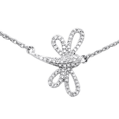 LIMITED QUANTITIES 1/7 CT. T.W. Diamond Dragonfly Necklace