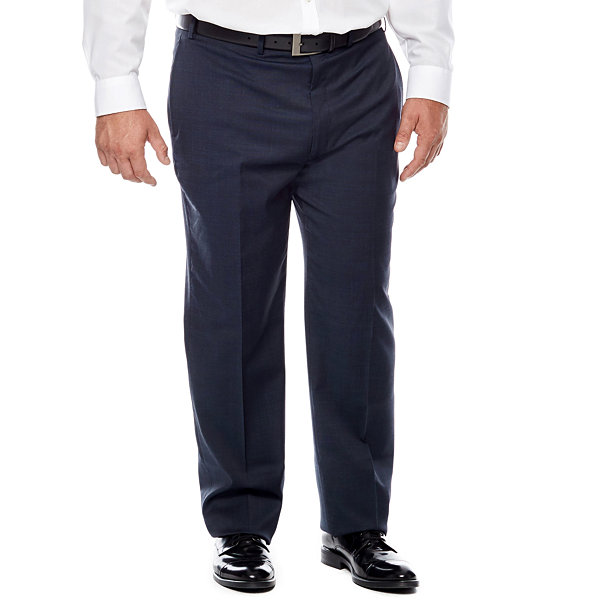 Claiborne® Blue Neat Flat-Front Suit Pants - Big & Tall