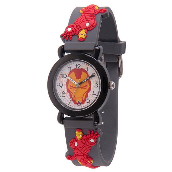 Avengers Boys Gray Strap Watch-Wma000156
