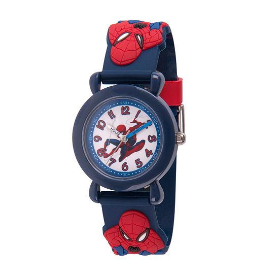 Marvel Spiderman Boys Blue Strap Watch-Wma000160