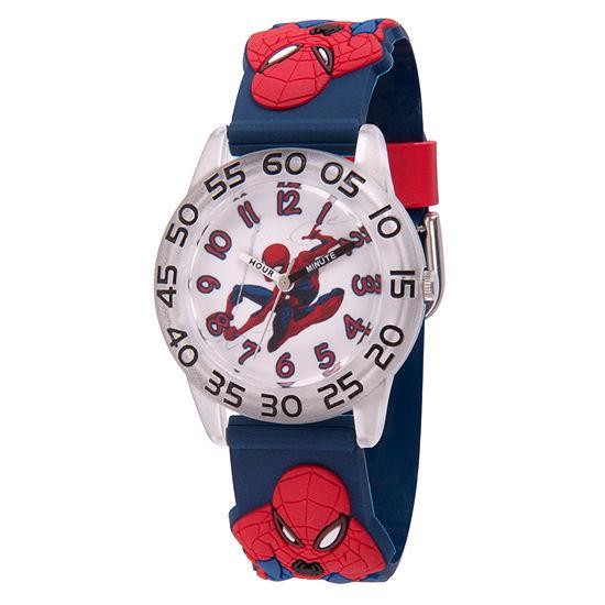 Marvel Spiderman Boys Blue Strap Watch-Wma000166