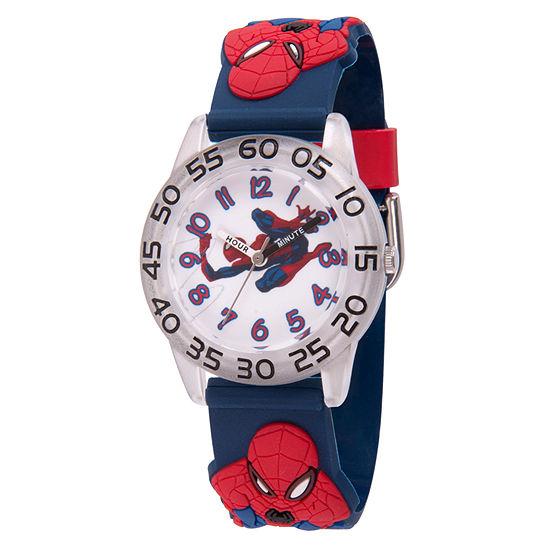 Marvel Spiderman Boys Blue Strap Watch-Wma000170