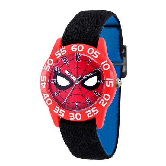 Marvel Spiderman Boys Black Strap Watch-Wma000184