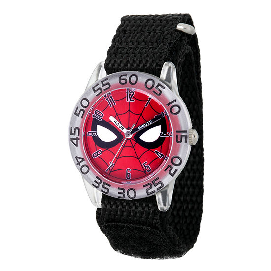 Marvel Spiderman Boys Black Strap Watch-Wma000187