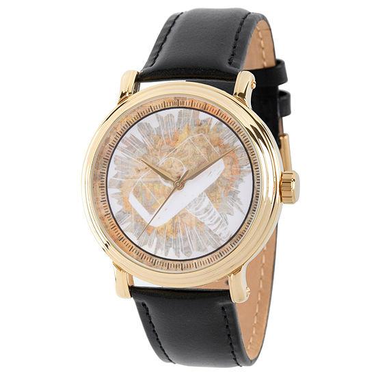 Marvel Mens Black Leather Strap Watch-Wma000194