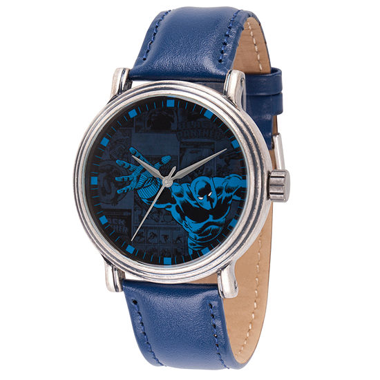Marvel Mens Blue Leather Strap Watch-Wma000195