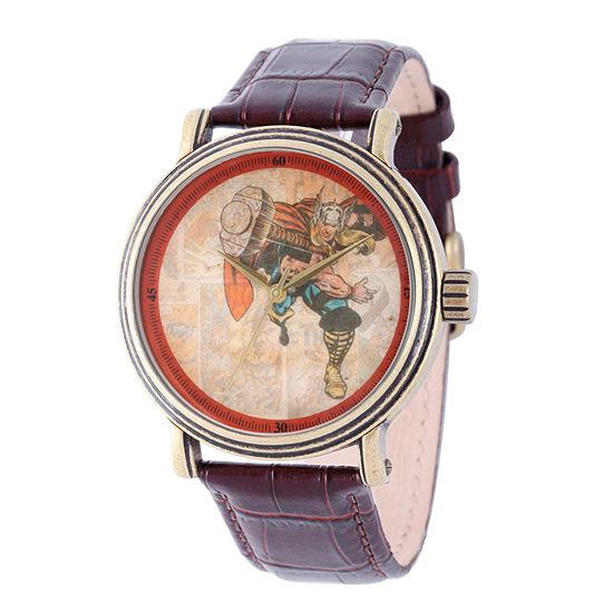 Marvel Mens Brown Strap Watch Wma000196