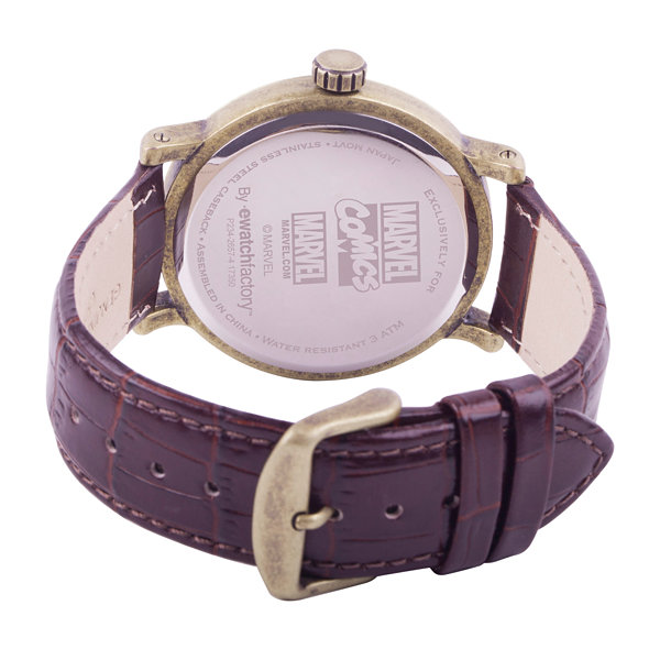 Marvel Mens Brown Strap Watch-Wma000196