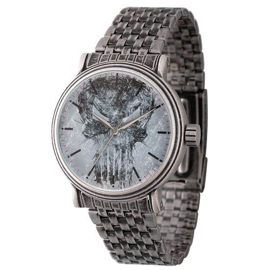 Marvel Marvel Mens Silver Tone Stainless Steel Bracelet Watch-Wma000198