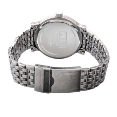 Marvel Mens Silver Tone Strap Watch-Wma000198